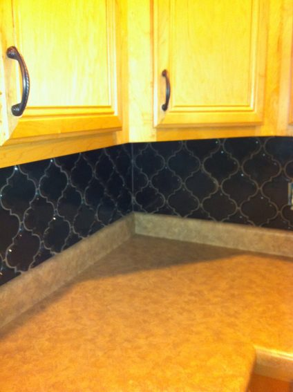beveled arabesque tile has been successfully grouted