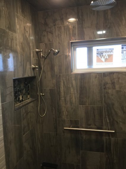 Multi-function shower, horizontal niche, Columbia Missouri, certified tile installer
