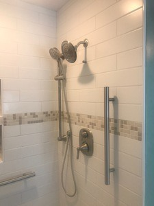 Tileware grab bar custom tiled shower